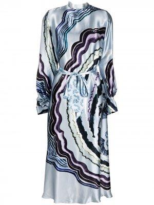 Платье Leonie с принтом Temperley London. Цвет: синий