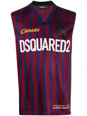 Топ в полоску с логотипом Dsquared2. Цвет: красный