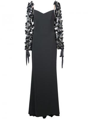 Вечернее платье с цветочной аппликацией Badgley Mischka. Цвет: серый