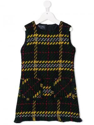 А-образное твидовое платье в клетку Oscar De La Renta Kids. Цвет: синий
