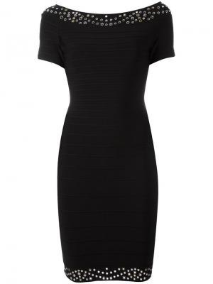 Приталенное платье с короткими рукавами Hervé Léger. Цвет: черный