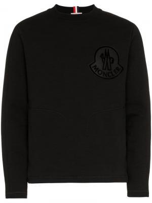 Свитшот с вышитым логотипом Moncler. Цвет: черный