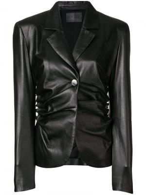 Приталенная куртка со сборками Drome. Цвет: черный