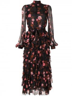 Платье с цветочным принтом и оборками Giambattista Valli. Цвет: черный