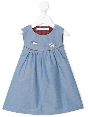 Платье с вышивкой Familiar. Цвет: синий