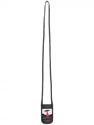 Клатч с ремешком на шею Marni. Цвет: черный