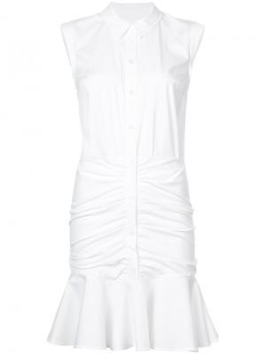 Платье-рубашка с оборками Veronica Beard. Цвет: белый
