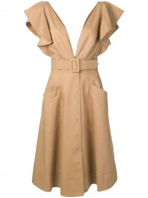 Платье с оборками на рукавах Oscar de la Renta. Цвет: коричневый