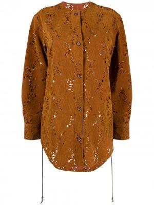 Куртка-рубашка с вышивкой Andersson Bell. Цвет: коричневый