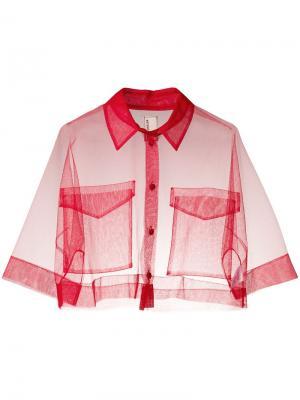 Укороченная прозрачная рубашка Antonio Marras. Цвет: красный