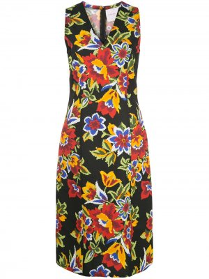 Платье с цветочным принтом Carolina Herrera. Цвет: черный