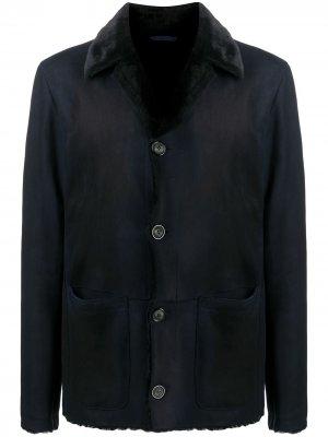 Однобортная дубленка Giorgio Armani. Цвет: синий