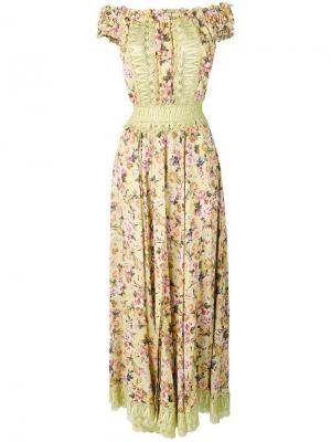 Платье с цветочным принтом и открытыми плечами Charo Ruiz. Цвет: зеленый