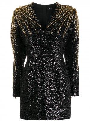 Коктейльное платье с пайетками и бисером Balmain. Цвет: черный