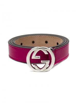 Ремень с пряжкой-логотипом Gucci Kids. Цвет: розовый