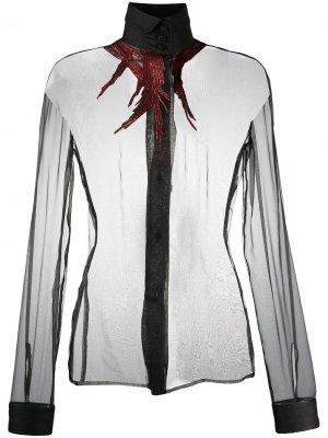Полупрозрачная рубашка 1990-х годов Gianfranco Ferré Pre-Owned. Цвет: черный