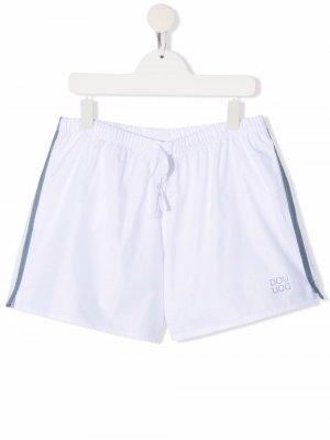Плавки-шорты с логотипом Douuod Kids. Цвет: белый