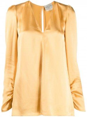 Блузка с V-образным вырезом Forte. Цвет: желтый