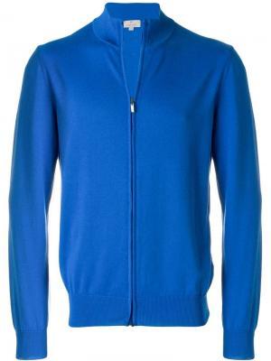 Трикотажная спортивная куртка на молнии Canali. Цвет: синий