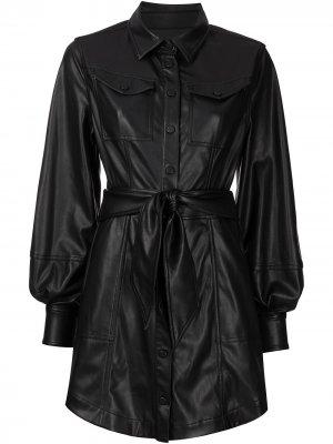 Платье мини Eve из искусственной кожи Jonathan Simkhai. Цвет: черный