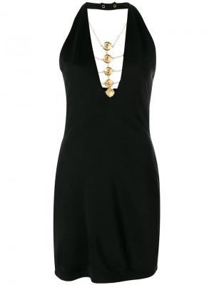 Платье с цепочкой Balmain. Цвет: черный