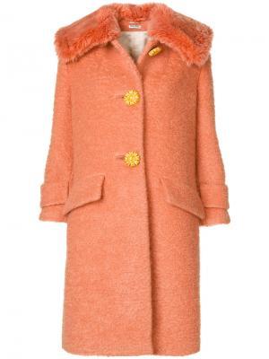 Пальто с большим воротником Miu. Цвет: жёлтый и оранжевый