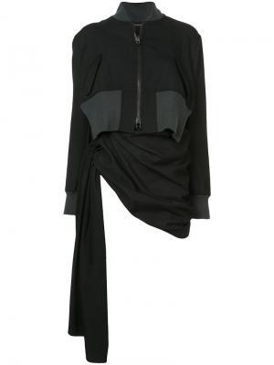Куртка со сборками и драпировками Yohji Yamamoto. Цвет: черный