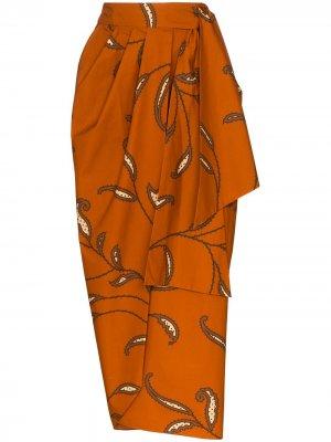 Юбка Eco Warrior с запахом Johanna Ortiz. Цвет: оранжевый