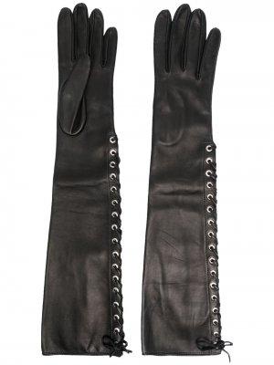 Перчатки на шнуровке с логотипом Manokhi. Цвет: черный