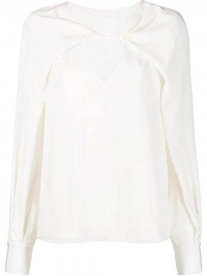 Блузка с драпировкой Jason Wu Collection. Цвет: белый