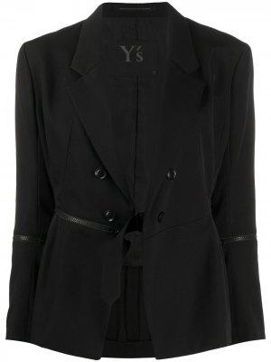 Блейзер с глубоким V-образным вырезом Yohji Yamamoto. Цвет: черный
