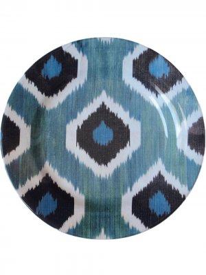 Керамическая тарелка с узором икат (19 см) Les-Ottomans. Цвет: синий
