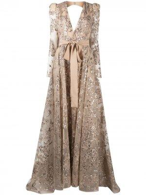 Вечернее платье макси с вышивкой пайетками Elie Saab. Цвет: нейтральные цвета