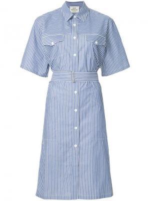 Платье-рубашка в полоску Mads Nørgaard. Цвет: синий