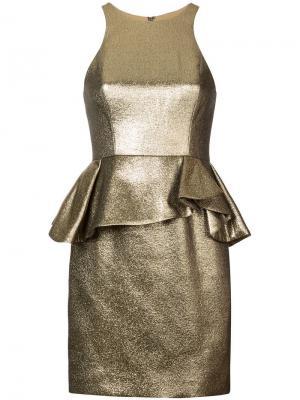 Платье с баской Halston Heritage. Цвет: золотистый