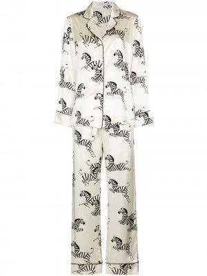 Пижама с принтом Olivia von Halle. Цвет: белый