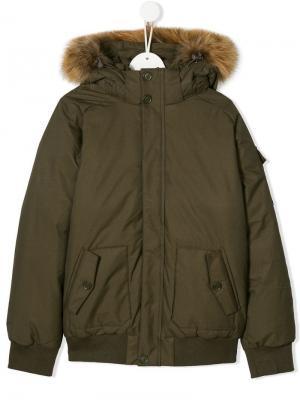 TEEN fur-trim hood jacket Pyrenex Kids. Цвет: зеленый