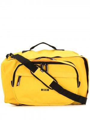 Дорожная сумка с логотипом MSGM. Цвет: желтый