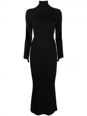 Платье в рубчик Mugler. Цвет: черный