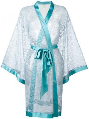Кружевной халат Dolci Follie. Цвет: синий