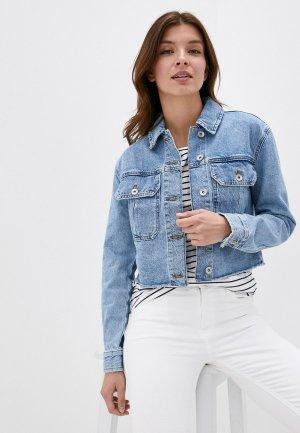 Куртка джинсовая Marks & Spencer. Цвет: голубой