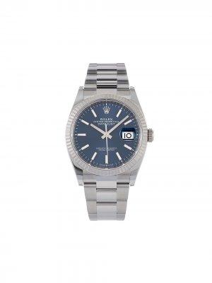 Наручные часы Oyster Perpetual Datejust pre-owned 36 мм 2020-го года Rolex. Цвет: голубой