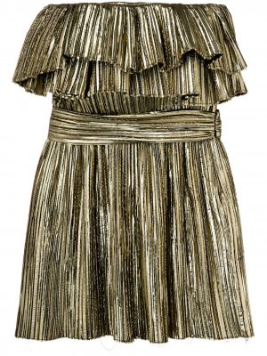 Metallic ruffle cocktail dress Saint Laurent. Цвет: золотистый