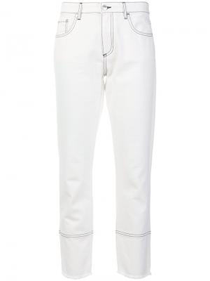 Укороченные джинсы кроя слим MSGM. Цвет: белый