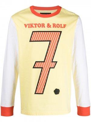 Футболка с длинными рукавами и графичным принтом Viktor & Rolf. Цвет: желтый