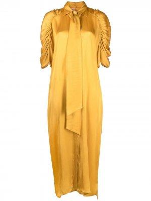 Платье-трапеция с бантом Nude. Цвет: желтый