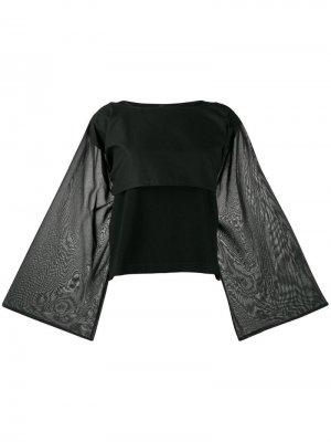 Расклешенная блузка с длинными рукавами Pierantoniogaspari. Цвет: черный