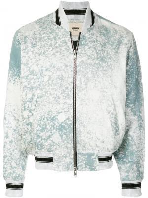 Куртка-бомбер с эффектом разбрызганной краски Herman. Цвет: синий