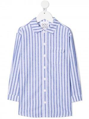 Полосатая рубашка с длинными рукавами Douuod Kids. Цвет: синий