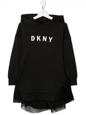 Платье с капюшоном и вышитым логотипом Dkny Kids. Цвет: черный